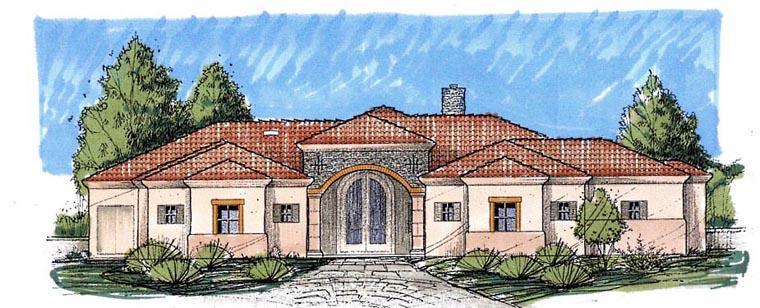 Southwest House Plan 54695 with 3 Beds, 3 Baths, 3 Car Garage Elevation