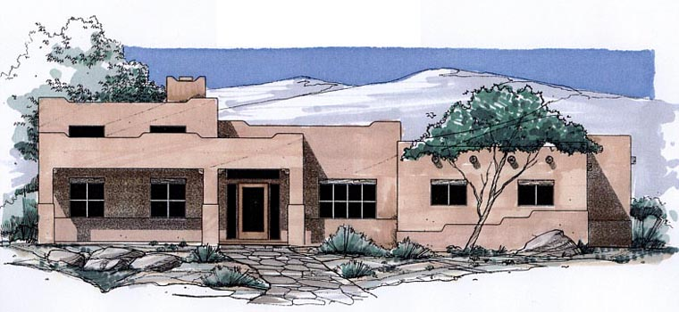 Santa Fe, Southwest House Plan 54696 with 3 Beds, 3 Baths, 3 Car Garage Elevation