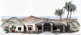 Contemporary , Santa Fe , Southwest House Plan 54698 with 4 Beds, 3 Baths, 3 Car Garage Elevation