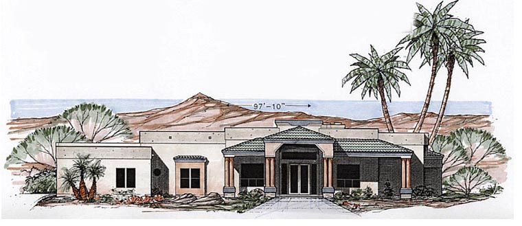 Contemporary, Santa Fe, Southwest House Plan 54698 with 4 Beds, 3 Baths, 3 Car Garage Elevation