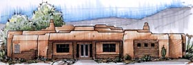Santa Fe Southwest House Plan 54700 Elevation