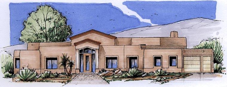 Santa Fe Southwest House Plan 54701 Elevation