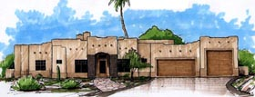 Santa Fe Southwest House Plan 54706 Elevation