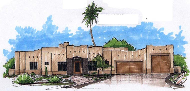 Santa Fe, Southwest House Plan 54706 with 4 Beds, 3 Baths, 3 Car Garage Elevation