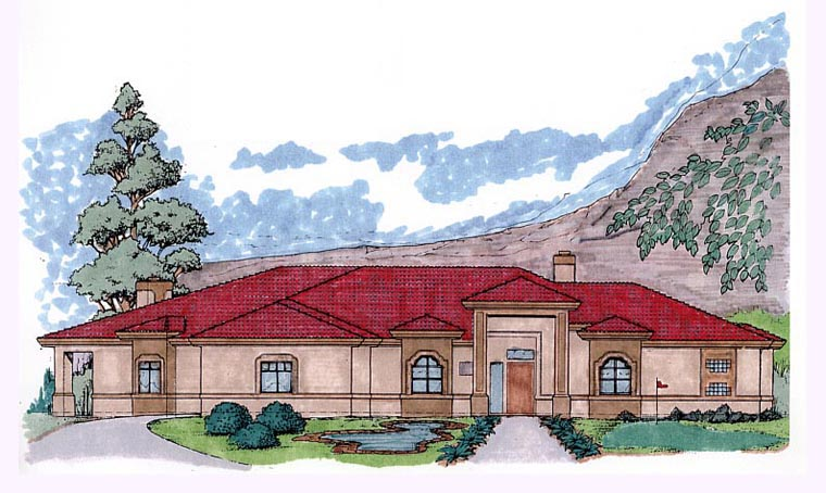 Mediterranean House Plan 54707 Elevation
