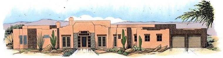 Santa Fe Southwest House Plan 54709 Elevation