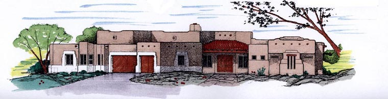 Santa Fe Southwest House Plan 54712 Elevation