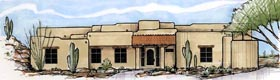House Plan 54713 | Santa Fe Southwest Style Plan with 4295 Sq Ft, 3 Bedrooms, 4 Bathrooms, 2 Car Garage Elevation