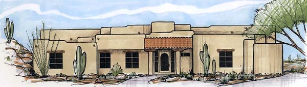 Santa Fe Southwest House Plan 54713 Elevation