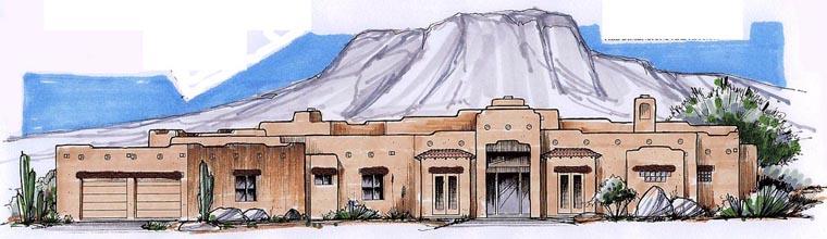 Santa Fe Southwest House Plan 54715 Elevation