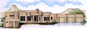 Contemporary House Plan 54717 with 4 Beds, 5 Baths, 3 Car Garage Elevation