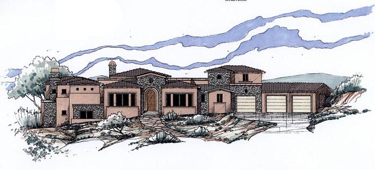 Southwest House Plan 54718 with 4 Beds, 6 Baths, 4 Car Garage Elevation