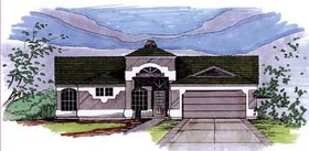 House Plan 54725 | Style Plan with 1810 Sq Ft, 4 Bedrooms, 2 Bathrooms, 2 Car Garage Elevation