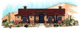 House Plan 54726   Style Plan with 2048 Sq Ft, 3 Bedrooms, 2 Bathrooms, 2 Car Garage Elevation