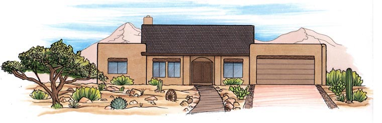 House Plan 54728 | Style Plan with 2671 Sq Ft, 3 Bedrooms, 2 Bathrooms, 2 Car Garage Elevation