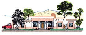House Plan 54730   Style Plan with 3131 Sq Ft, 3 Bedrooms, 3 Bathrooms, 2 Car Garage Elevation