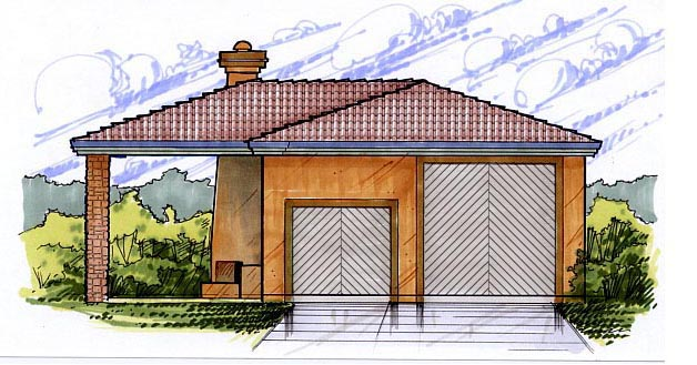 2 Car Garage Plan 54770, RV Storage Elevation