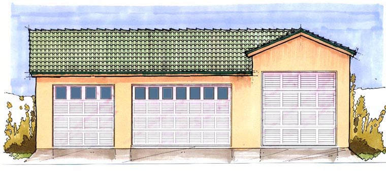 4 Car Garage Plan 54776 , RV Storage Elevation