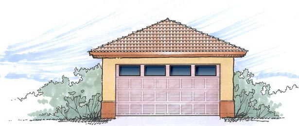 2 Car Garage Plan 54793 Elevation