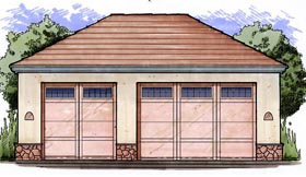3 Car Garage Plan 54796 Elevation