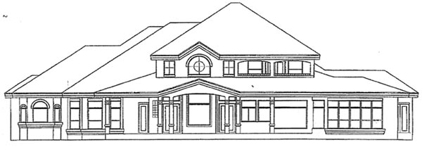 Florida Mediterranean Rear Elevation of Plan 54800