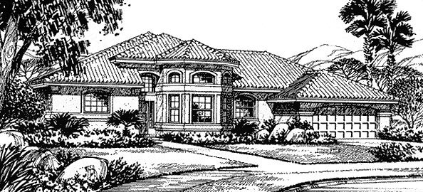 Florida Mediterranean House Plan 54804 Elevation