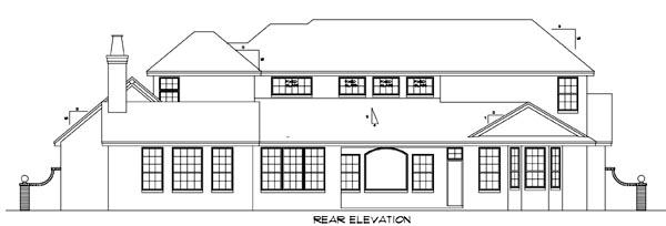 Florida Mediterranean House Plan 54807 Rear Elevation