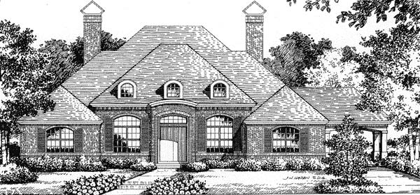 Florida, Mediterranean House Plan 54815 with 3 Beds, 2.5 Baths, 3 Car Garage Elevation