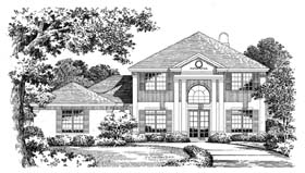 Colonial Mediterranean House Plan 54817 Elevation
