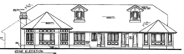 Florida Mediterranean House Plan 54823 Rear Elevation