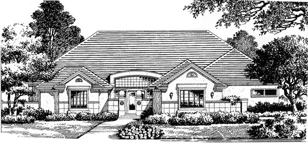 Florida, Mediterranean House Plan 54827 with 4 Beds, 3.5 Baths, 3 Car Garage Front Elevation