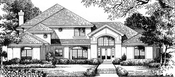 Florida House Plan 54828 with 4 Beds, 4.5 Baths, 3 Car Garage Elevation
