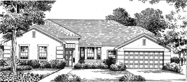 Florida House Plan 54830 with 3 Beds, 2 Baths, 2 Car Garage Elevation