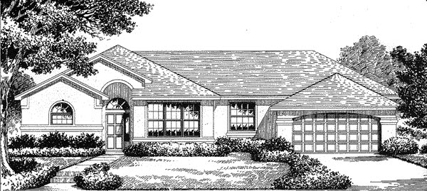 Florida, Mediterranean House Plan 54831 with 3 Beds, 2 Baths, 2 Car Garage Elevation