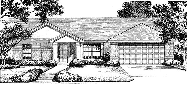 House Plan 54838 | Florida Mediterranean Style Plan with 1317 Sq Ft, 3 Bedrooms, 2 Bathrooms, 2 Car Garage Elevation