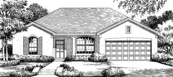 Florida , Mediterranean House Plan 54839 with 3 Beds, 2 Baths, 2 Car Garage Elevation