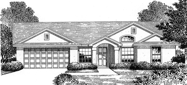 Florida, Mediterranean House Plan 54844 with 3 Beds, 2 Baths, 2 Car Garage Elevation