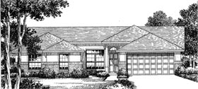 House Plan 54845 | Florida Mediterranean Style Plan with 1693 Sq Ft, 4 Bedrooms, 2 Bathrooms, 2 Car Garage Elevation