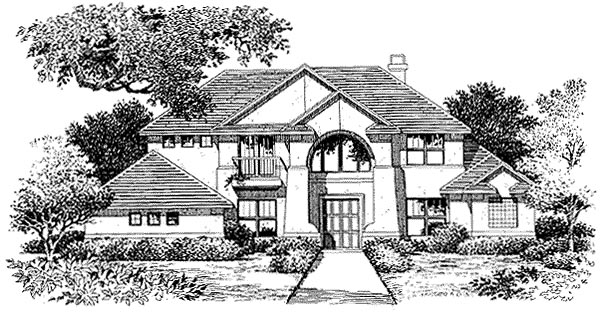 Florida, Mediterranean House Plan 54849 with 3 Beds, 4 Baths, 3 Car Garage Elevation