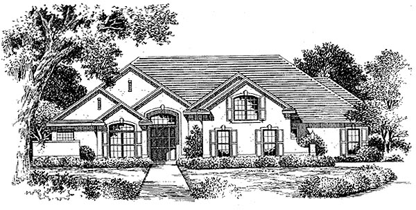 Florida Mediterranean House Plan 54850 Elevation