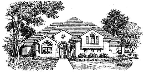 Florida Mediterranean House Plan 54853 Elevation