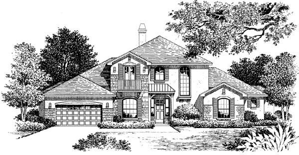 Florida, Mediterranean House Plan 54857 with 4 Beds, 4 Baths, 2 Car Garage Elevation
