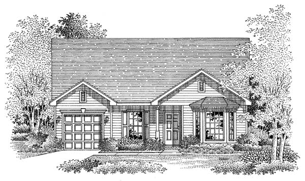 House Plan 54859 | Traditional Style Plan with 1382 Sq Ft, 3 Bed, 2 Bath, 1 Car Garage Elevation