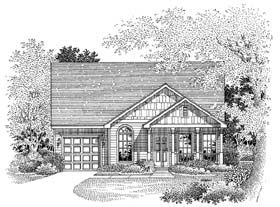 House Plan 54860 | Craftsman Style Plan with 1163 Sq Ft, 3 Bed, 2 Bath, 1 Car Garage Elevation