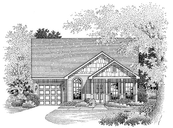 Craftsman House Plan 54860 with 3 Beds, 2 Baths, 1 Car Garage Elevation