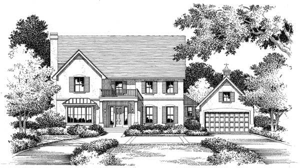 European House Plan 54862 with 4 Beds, 6.5 Baths, 2 Car Garage Elevation