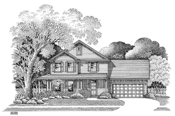 Country House Plan 54863 with 3 Beds, 2.5 Baths, 2 Car Garage Elevation