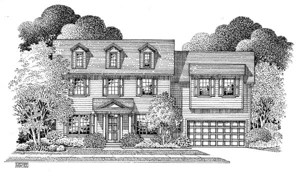 Colonial House Plan 54865 Elevation