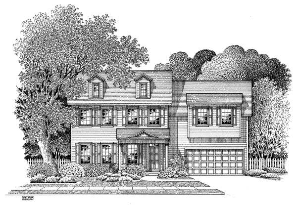 Colonial House Plan 54866 with 4 Beds, 2.5 Baths, 2 Car Garage Elevation