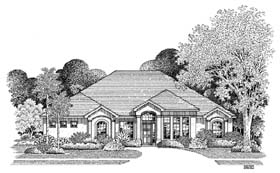 Florida House Plan 54867 with 4 Beds, 3 Baths, 2 Car Garage Elevation